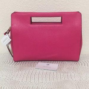 New Coach saffiano leather pocket clutch handbag